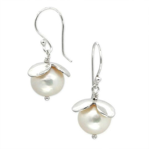 Flower Earrings with Freshwater Pearls