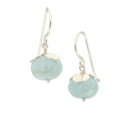 Flower Earrings with Aquamarine and Apatite