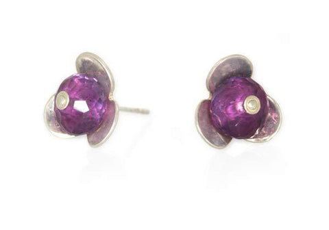 Flower Studs with Amethyst