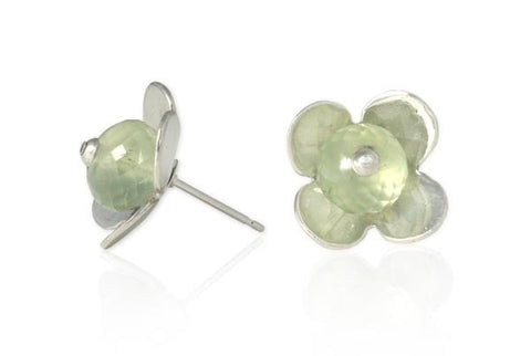 Flower Studs with Prehnite