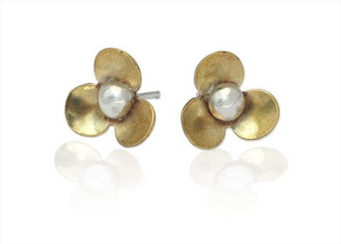 Flower Studs in Sterling Silver and Brass
