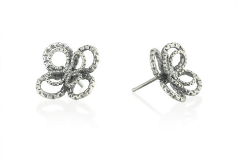 Double Clover Stud Earring in Sterling Silver