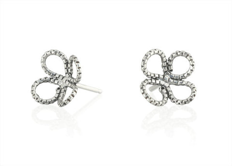 Tiny Clover Stud Earring in Sterling Silver