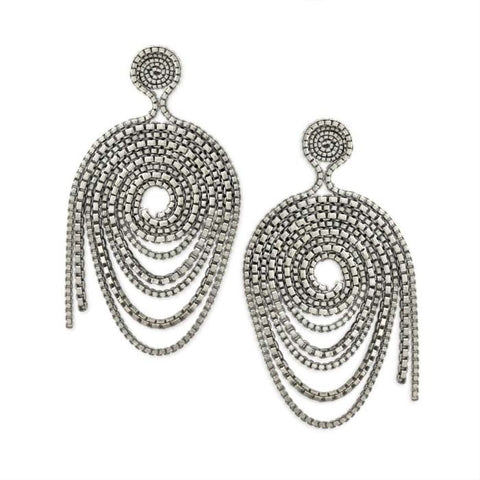 Sterling Silver Unravelling Double Box Chain Earrings