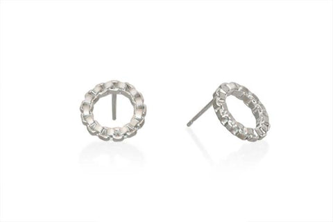 Tiny Sterling Silver Circle Stud Earrings