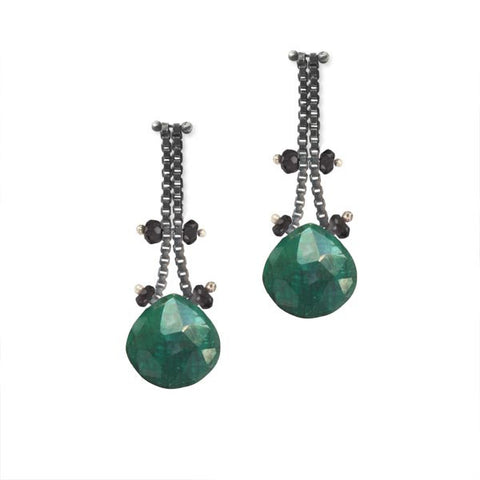Blackened Sterling Silver Chain Earrings with Emeralds and Black Spinel