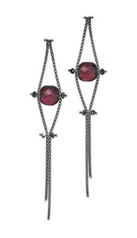 Blackened Sterling Silver Chain Earrings with Black Diamonds and Garnet