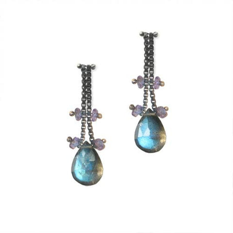 Blackened Sterling Silver Chain Earrings with Labradorite and Tanzanite
