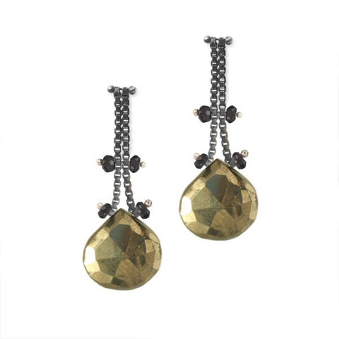 Blackened Sterling Silver Chain Earrings with Pyrite and Black Spinel