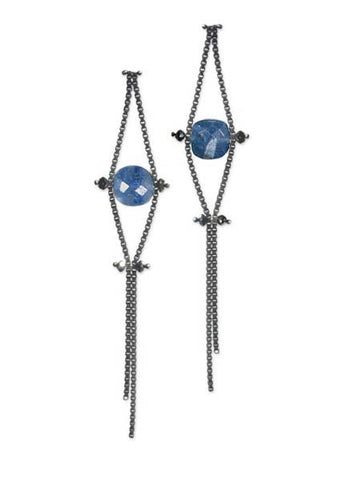 Blackened Sterling Silver Chain Earrings with Black Diamonds and Blue Quartz