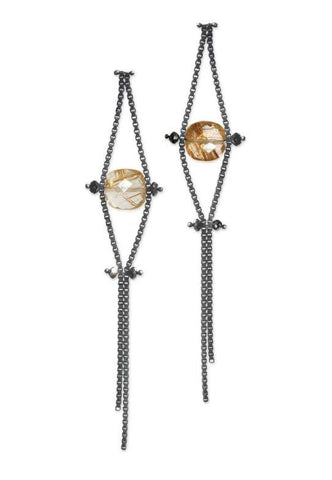 Box Chain Earrings with Black Diamonds and Rutilated Quartz
