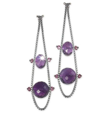 Box Chain Earrings with Pink Spinel and Amethyst