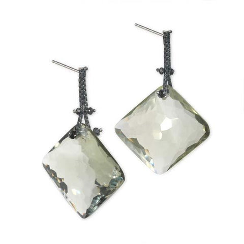 Blackened Sterling Silver Chain Earrings with Black Diamonds and Prasiolite
