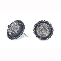 Drusy Quartz and Sterling Silver Stud Earrings