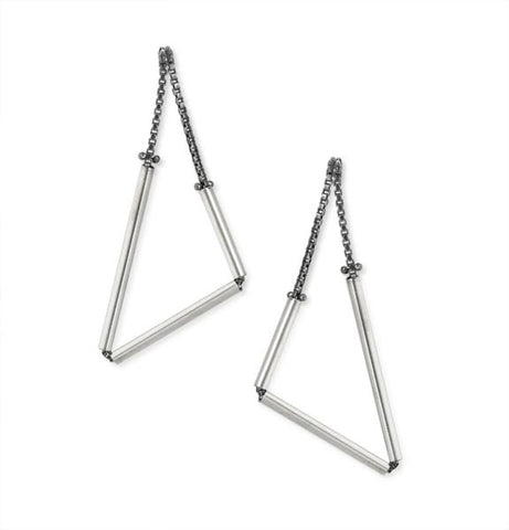 Geometric Earrings in Sterling Silver (Small Triangles)