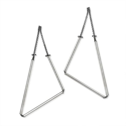 Geometric Earrings in Sterling Silver (Medium Triangles)