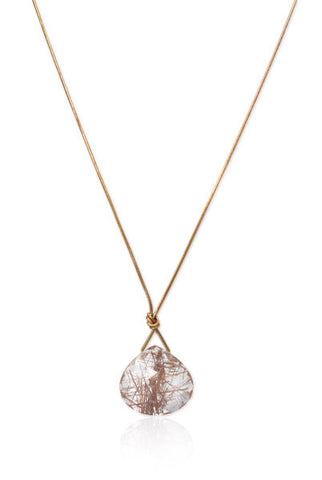 Knotted 14k Gold and Rutilated Quartz Necklace