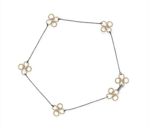 Clover Choker in 14k Gold and Silver