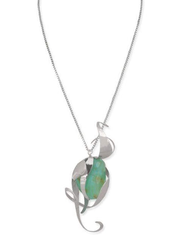 Peruvian Opal and Silver Wildflower Necklace