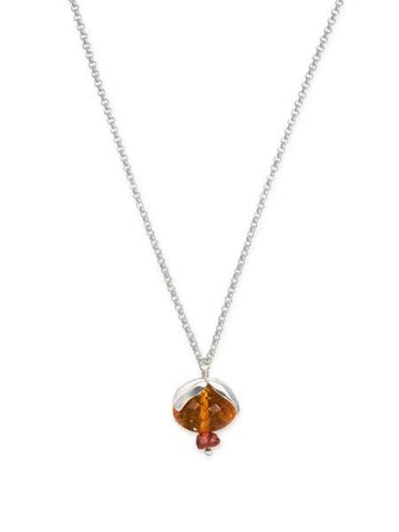 Sterling Silver, Citrine and Garnet Flower Necklace