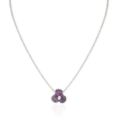 Small Flower Necklace with Amethyst