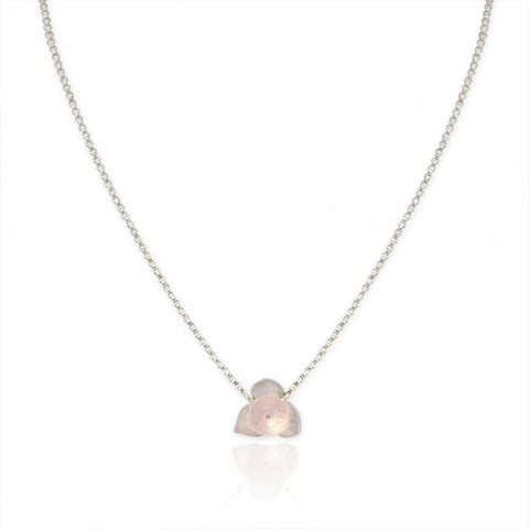 Small Flower Necklace with Rose Quartz