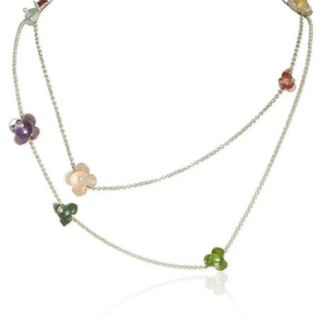 Convertible Flower Necklace in Sterling Silver, Tourmaline, Amethyst, Rose Quartz, Citrine, Prehnite, and Aquamarine