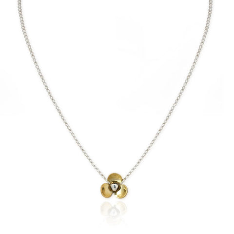 Flower Necklace in Sterling Silver and Brass