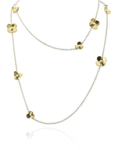 Convertible Flower Necklace in Sterling Silver and Brass