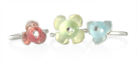 Set of Pink Tourmaline, Prehnite, and Aquamarine Stackable Flower Rings in Silver
