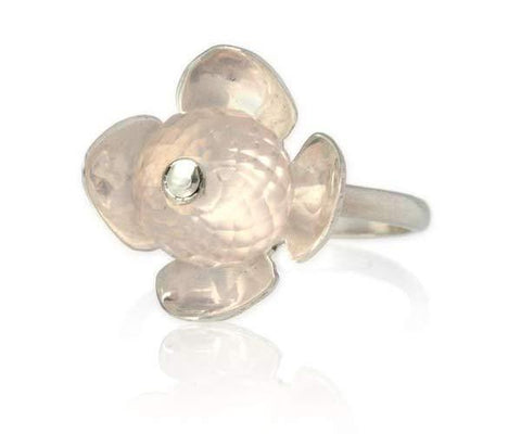 Rose Quartz Stackable Flower Ring