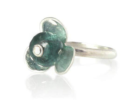Blue Tourmaline Stackable Flower Ring