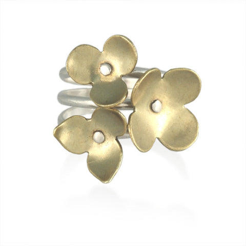 Silver and Brass Set of Stackable Flower Rings