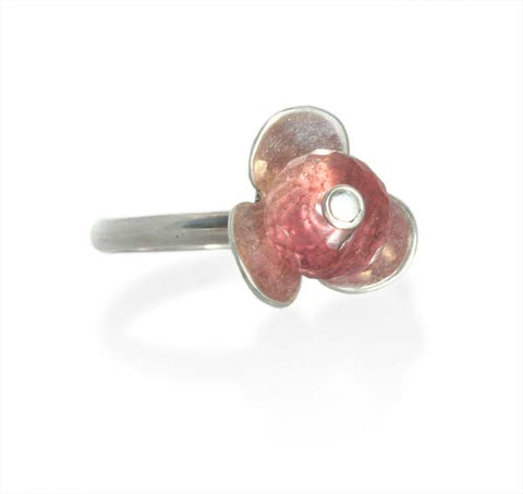 Pink Tourmaline Stackable Flower Ring