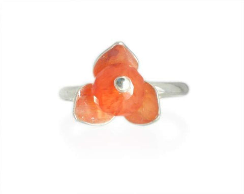 Silver and Orange Chalcedony Stackable Flower Ring