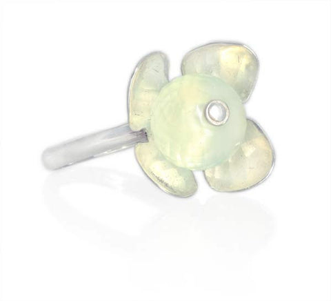 Silver and Prehnite Stackable Flower Ring