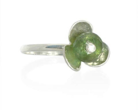 Silver and Green Tourmaline Stackable Flower Ring