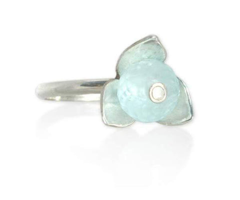 Aquamarine Stackable Flower Ring