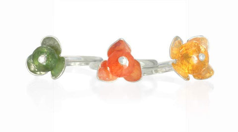 Set of Green Tourmaline, Citrine, and Orange Chalcedony Stackable Flower Rings in Silver