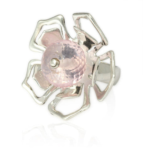 Rose Quartz Flower Ring