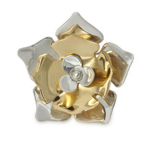Silver and Gold Flower Ring