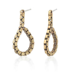 Brass Teardrop-Shaped Chain Earrings