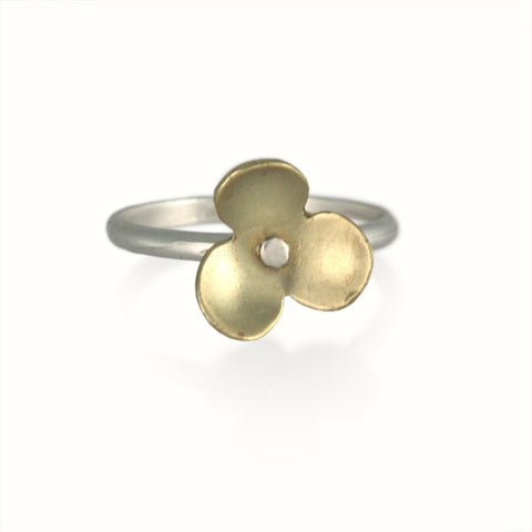 Silver and Brass Stackable Flower Rings