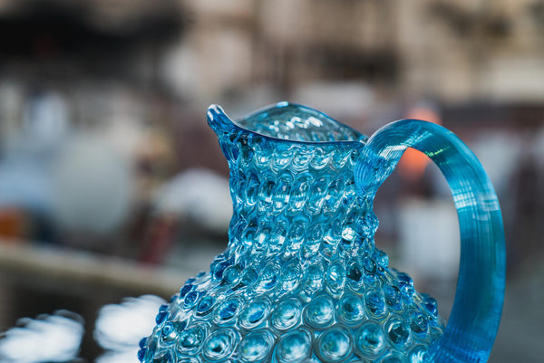 Detail of Glass Azure Hobnail Jug