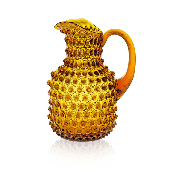 Amber Hobnail Glass Square Jug