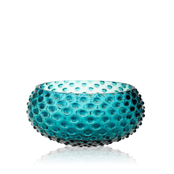 Glass Aquamarine Hobnail Bowl