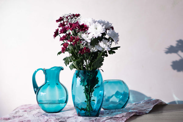 Jug, Round vase and Tall Vase in aquamarine colour