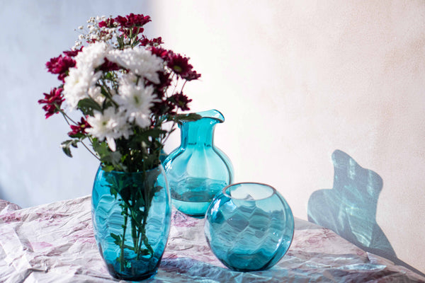Glass Aqumarine Tall Vase, Round vase and jug