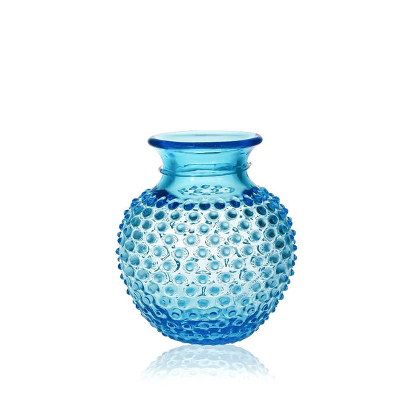 Glass Azure Hobnail Vase with Collar
