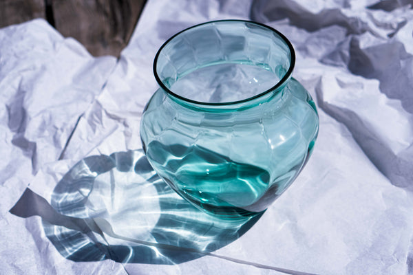 Beryl Glass large Vase on the white paper